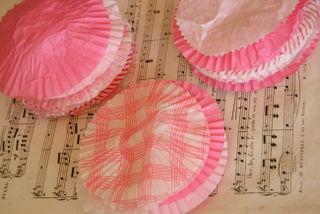 Pink muffin cups flattened
