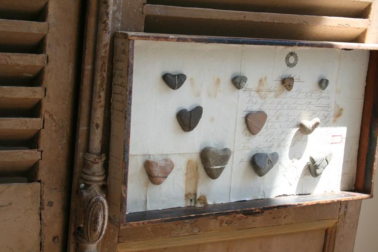 Heart rocks on shutters