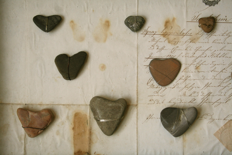 Heart rocks wired on