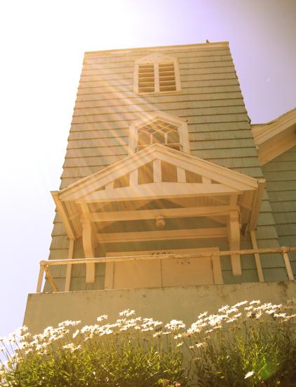 Sun shines on church