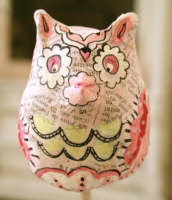 Paper mach owl