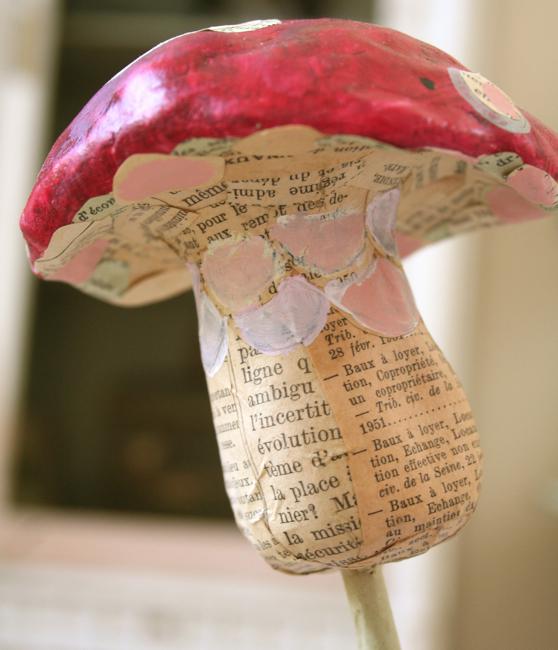 Paper mache mushroom