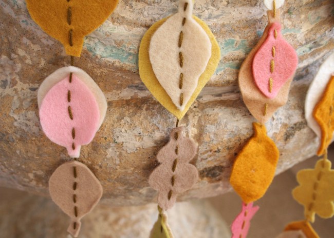 Fall felt garland closeup 2