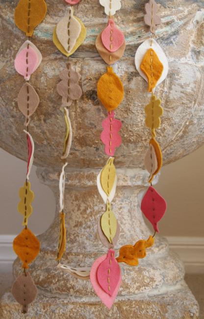 Fall felt garland on urn