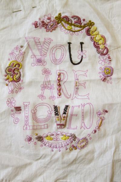 You are loved sampler in progress