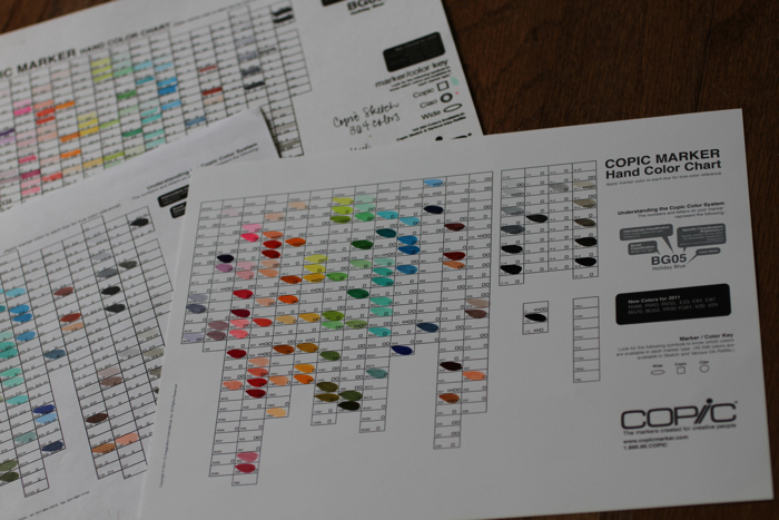 Copic hand color chart