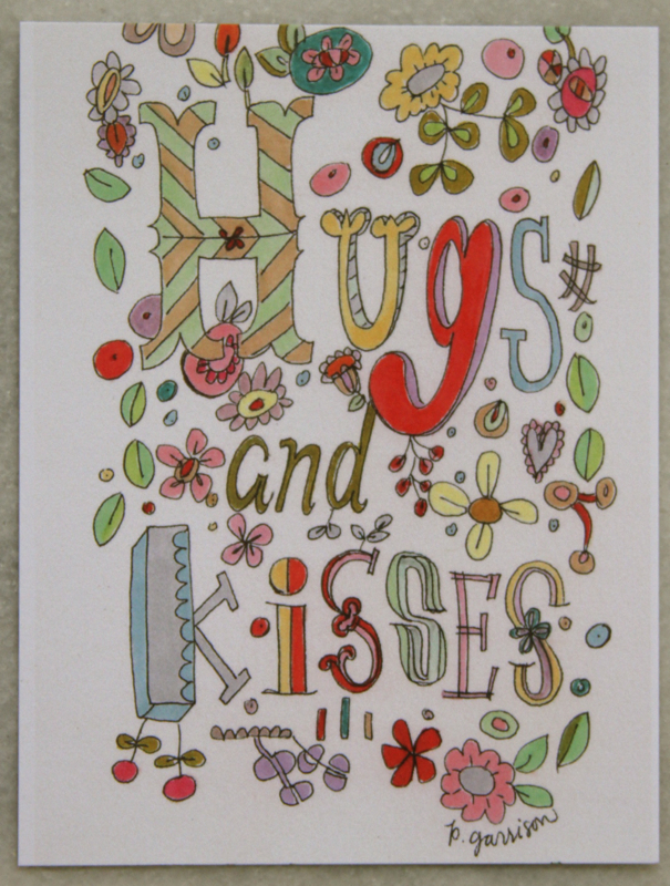 Hugs & kisses postcard e