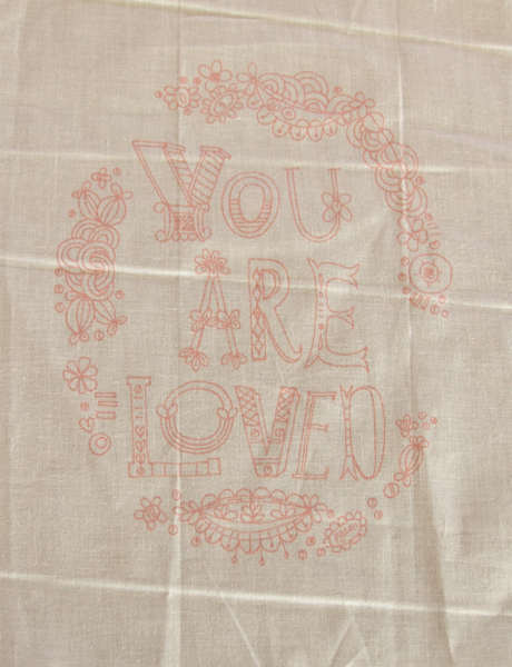 You are loved pink sampler 1