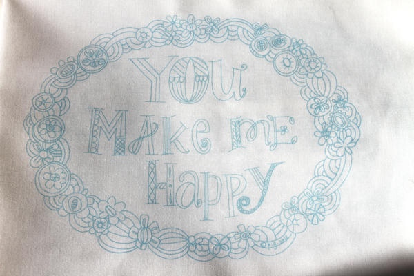 You make me happy teal sampler