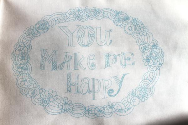 You make me happy teal sampler