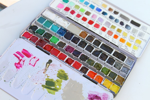 Pam garrison making a water color palette
