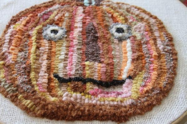 Pg pumpkin rug hooking