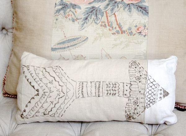 Pam garrison embroidered arrow pillow 1