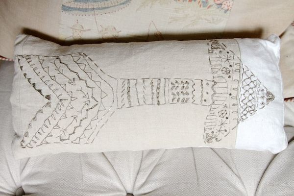 Pam garrison embroidered arrow pillow