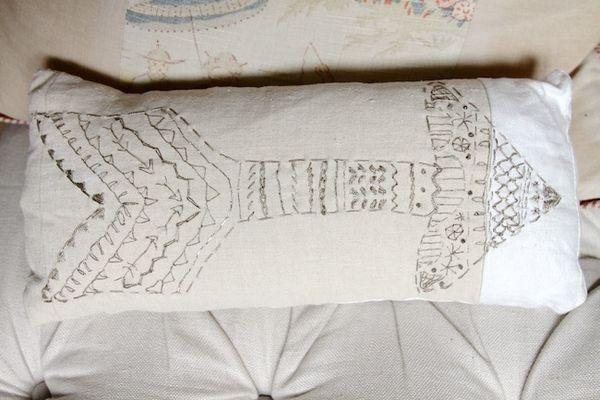 Pam garrison embroidered arrow pillow