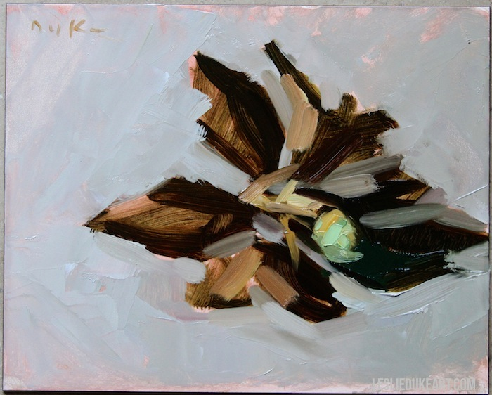 Leslie Duke oil painting magnolia demo in progress