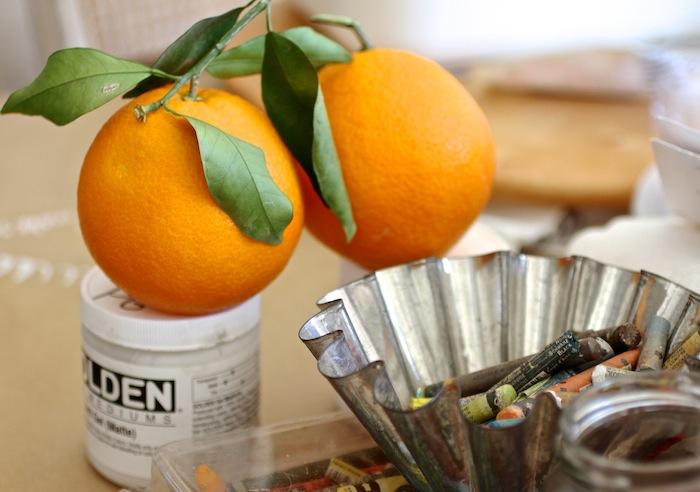 Oranges to oil paint