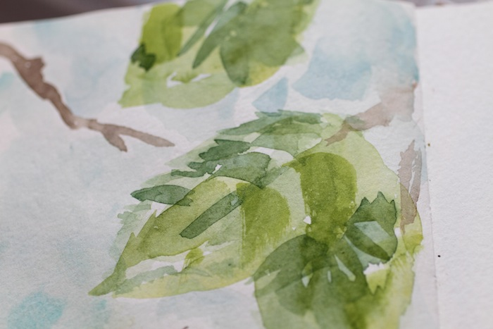 Pam garrison watercoloring leaves